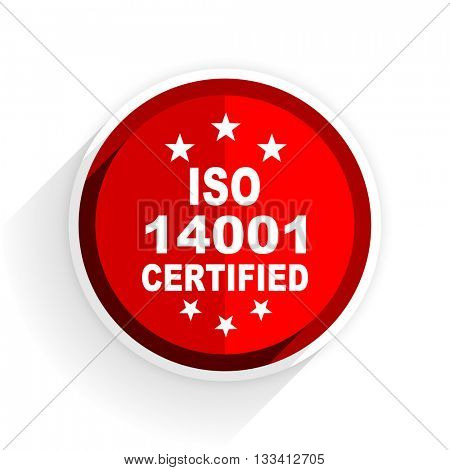 iso 14001 icon, red circle flat design internet button, web and mobile app illustration