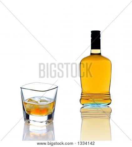 Whiskey Bottle And A Whiskey Glass
