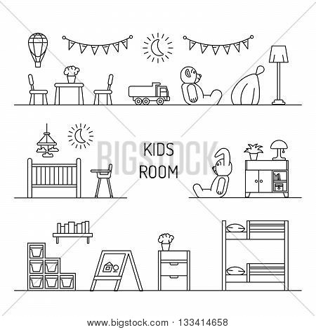 Set of elements for a child's room. The interior of the nursery for games. Children's room vector.