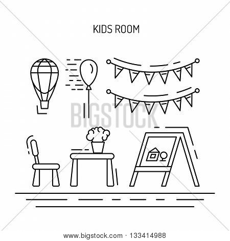 Set of elements for a childrens room. The interior of the nursery for games. Childrens room vector.