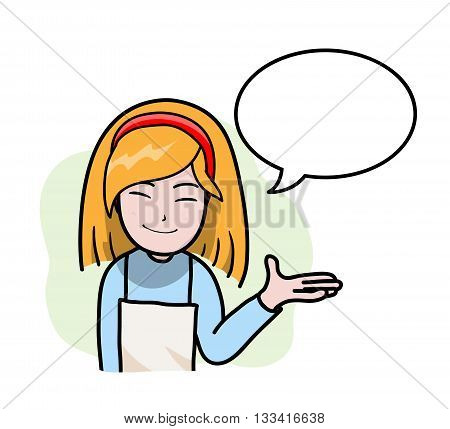 Mom the Waitress Cook, a hand drawn vector cartoon illustration of a mother's role as a cook.