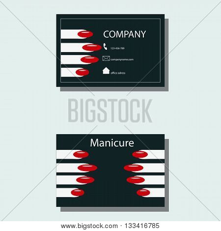 business card for a manicure, contact details , cosmetic services vector illustration