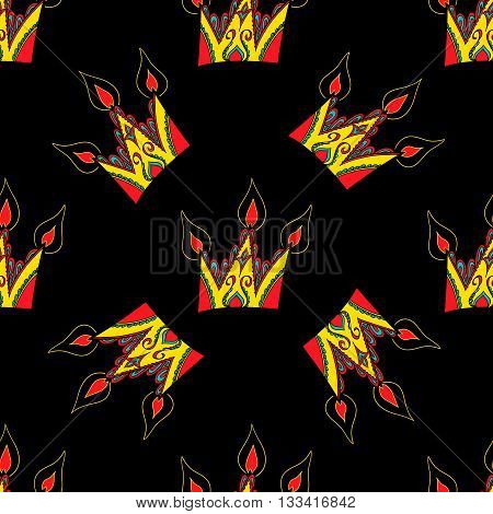 Cute seamless pattern from original crowns-candles. Funny original creative vector illustration for web design and Polygraphy