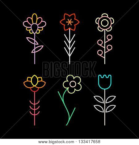 Neon colors on a black background flower vector icon set.