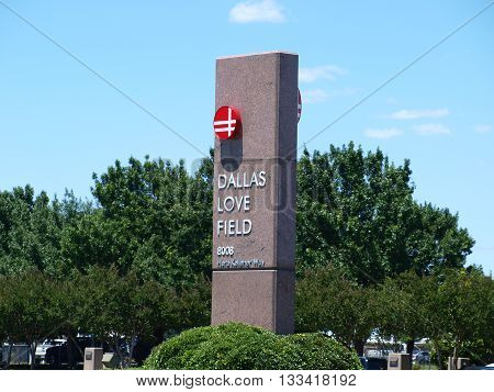 Dallas,USA, June or,2016. New Logo appears on the Love Field sign which is owned and operated by the City of Dallas. Growth has exploded with the removal of the Wright Amendment. The gates are capped at 20 with removal of amendment here in Dallas, June 5,