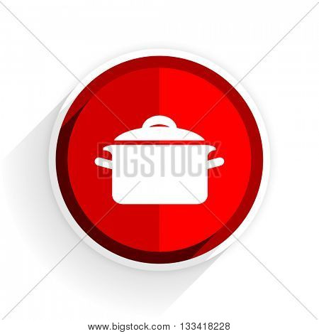 cook icon, red circle flat design internet button, web and mobile app illustration