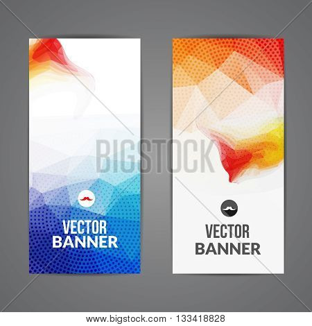 Set of polygonal triangular colorful background banners poster booklet for modern design youth graphic concept.