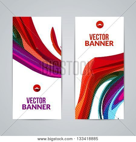 Set of polygonal triangular colorful background banners poster booklet with swirls for modern design youth graphic concept.