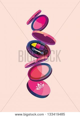 vector illustration set of cosmetics and powder eye shadows in shades of pink and purple