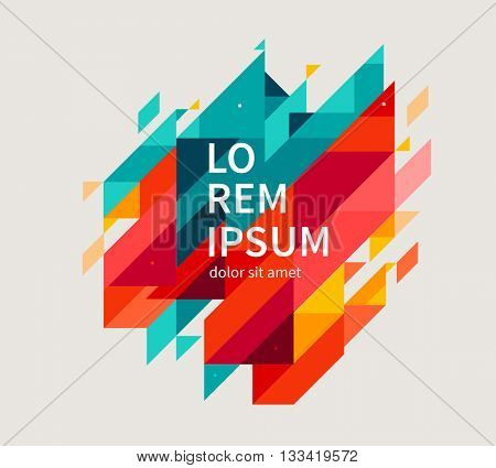 Minimalistic design, creative concept, modern diagonal abstract background Geometric element. Blue,yellow and red diagonal lines & triangles. vector-stock illustration