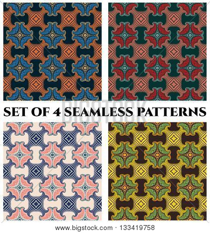Abstract trendy seamless patterns with decorative ornament of blue orange beige red pink teal green yellow and black shades