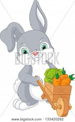 Cute Rabbit with wheelbarrow full of vegetables