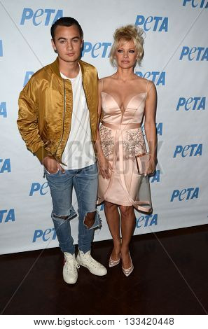 LOS ANGELES - JUN 7:  Brandon Lee, Pamela Anderson at the Peta Celebrates Prince on his Birthday at the Peta's Bob Barker Building on June 7, 2016 in Los Angeles, CA