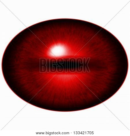 Seven Eyes Set. Isolated Red Elliptic Eye. Eye With Iris And Pupil.