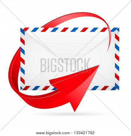 Avia-mail envelope with curved red arrow around.