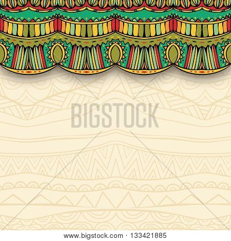 Ornate curtain and ethnic ornament background. Colorful element with shadow. Mexican ornament for tribal background. Flyer or greeting card template. Vector illustration.