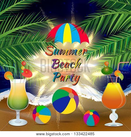 Abstract summer beach party background with palm branches, beach balls, umbrella and icy cocktail glasses