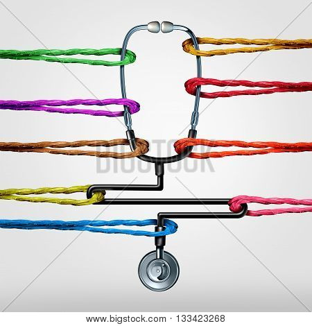 Community health care support as a doctor stethoscope being pulled by diverse color ropes as a medical or medicine metaphor for social medicine services or overworked hospital workers with 3D illustration elements.