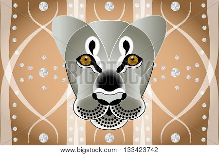 Lions face on abstract graphic background with diamonds