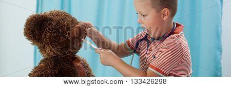Preschooler And His Teddy Bear