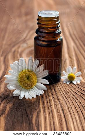 Small Bottle With Essential Oil Of Chamomile