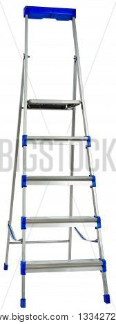 New metallic step ladder isolated on white background