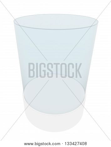 Empty glass showcase for exhibition. 3D illustration