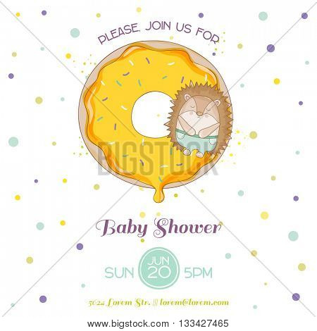 Baby Shower or Arrival Card - Baby Hedgehog - in vector