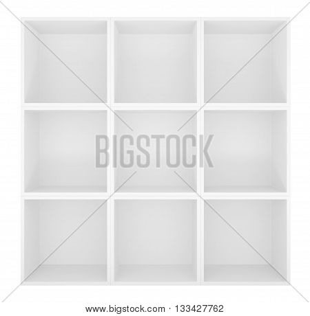 Empty shelves, blank bookcase library. Isolated on white. 3D rendering