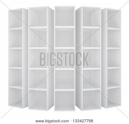 Empty bookshelf or store rack isolated. 3D illustration
