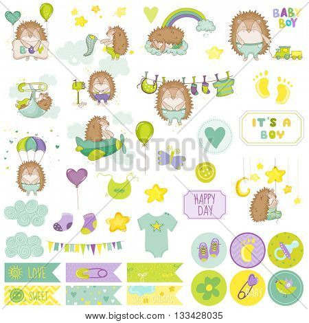 Baby Boy Hedgehog Scrapbook Set. Vector Scrapbooking. Decorative Elements. Baby Tags. Baby Labels. Stickers. Notes.