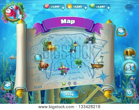 Atlantis ruins playing field - vector illustration level map screen to the computer game user interface. Background image to create original video or web games graphic design screen savers.