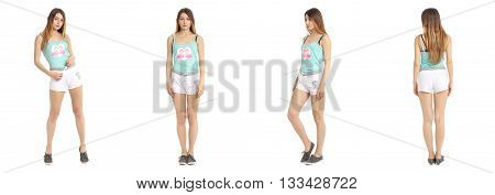 Young And Beautiful Student In White Shorts Isolated
