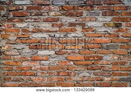 Old wall of red brick for backgrounds