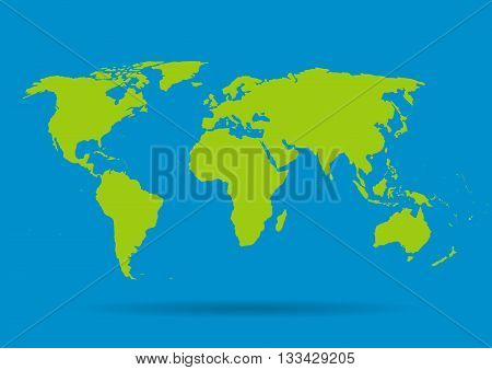 Green vector map. World map blank. World map template.World card on a blue background. Vector illustration.
