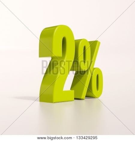 3d render: green 2 percent, percentage discount sign on white, 2%