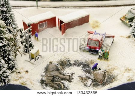 Layout Winter archaeological excavations. Tractors cabins trees and the remains of mammoths.