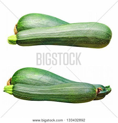 Set of green zucchini vegetable isolated on white background.