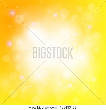 Yellow abstract background with light blurs shining spots. Sun light background