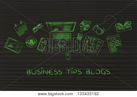 Business & Finance Blogger Desk With Laptop, Business Tips Blogs