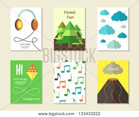 Cute flat style cards brochures invitations with earphones fur trees clouds sky kite musical notes vulcano. Cartoon children objects background. Printable templates set
