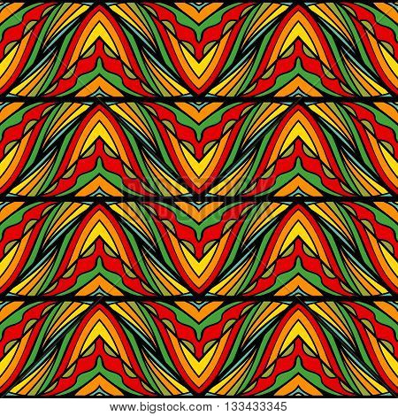 Vivid striped seamless ornament. Ethnic pattern. Bright contrast colors. Abstract repeatable background. Vector illustration.