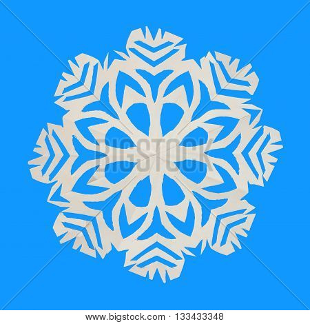 On blue background lie one white paper snowflake