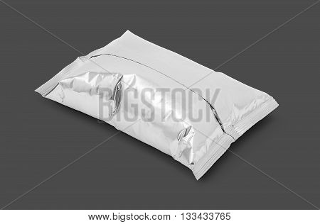 blank packaging aluminum foil snack pouch isolated on gray background with clipping path