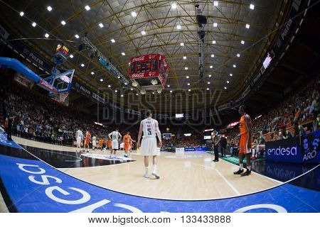 VALENCIA, SPAIN - JUNE 7th: All players during 3rd playoff match between Valencia Basket and Real Madrid at Fonteta Stadium on June 7, 2016 in Valencia, Spain