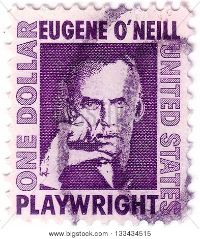 Usa - Circa 1967: A Postage Stamp Printed In Usa, Shows An Irish American Playwright And Nobel Laure