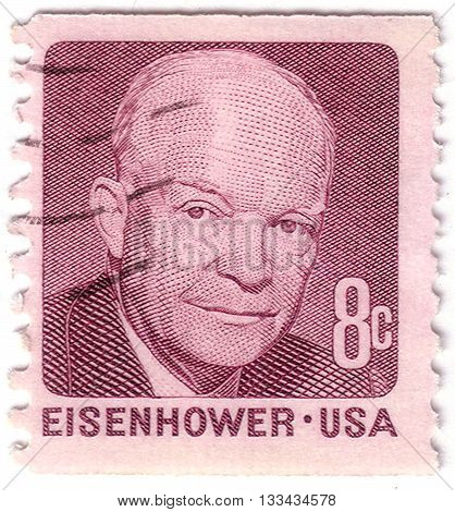 Usa - Circa 1971: A Stamp Printed In Usa Shows Portrait Of Dwight David Eisenhower (1890-1969) A 34S