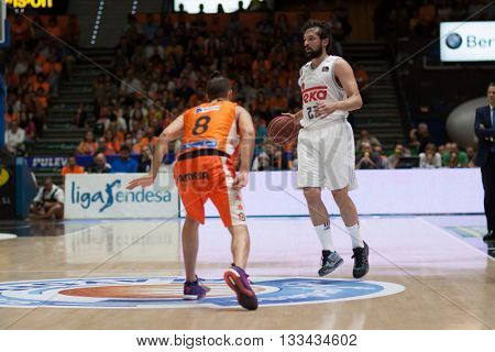 VALENCIA, SPAIN - JUNE 7th: Sergi Llull with ball during 3rd playoff match between Valencia Basket and Real Madrid at Fonteta Stadium on June 7, 2016 in Valencia, Spain