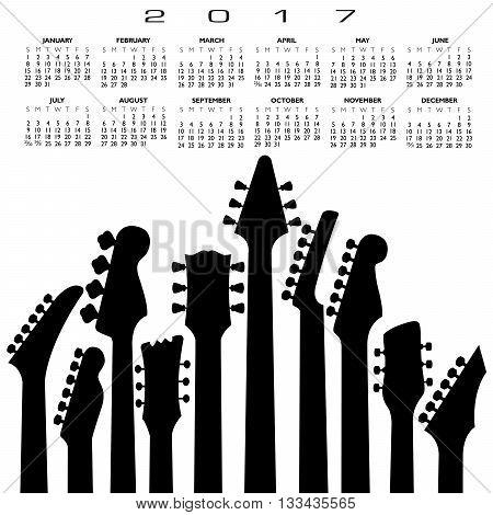 2017 creative guitar calendar for print or web