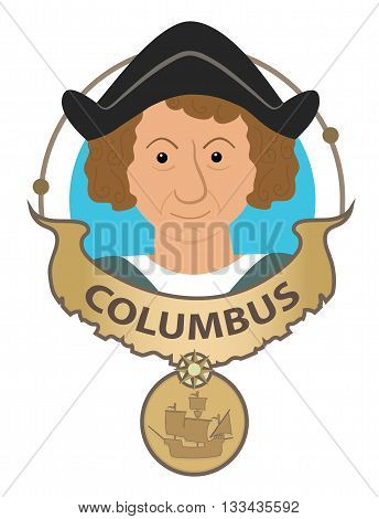 Columbus cartoon banner with his name and his ship. Eps10